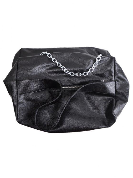 Chains Slouch Shoulder Bag - BLACK  Mobile