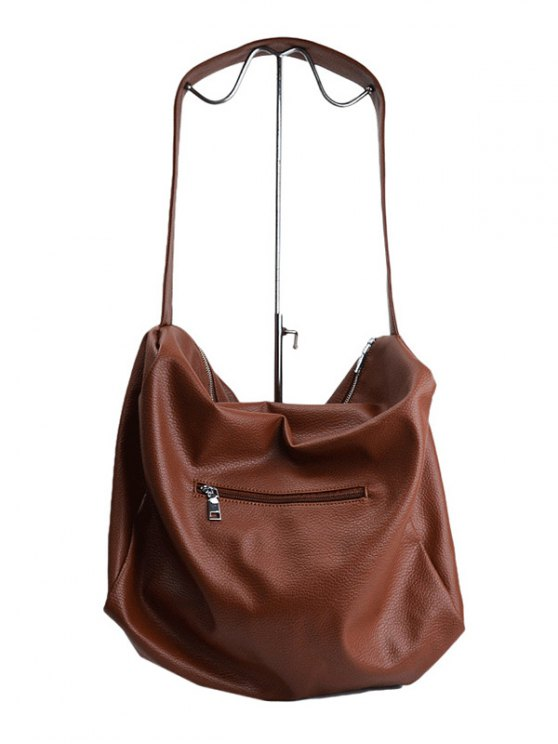 Chains Slouch Shoulder Bag - BROWN  Mobile