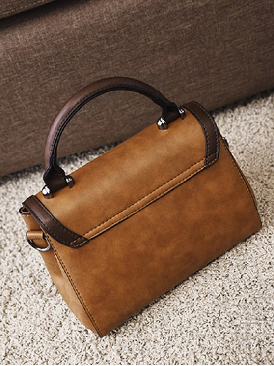 Color Panel PU Leather Handbag - BROWN  Mobile