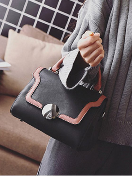 Color Panel PU Leather Handbag - BLACK  Mobile