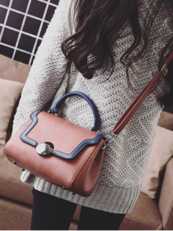 Color Panel PU Leather Handbag - DARK AUBURN  Mobile