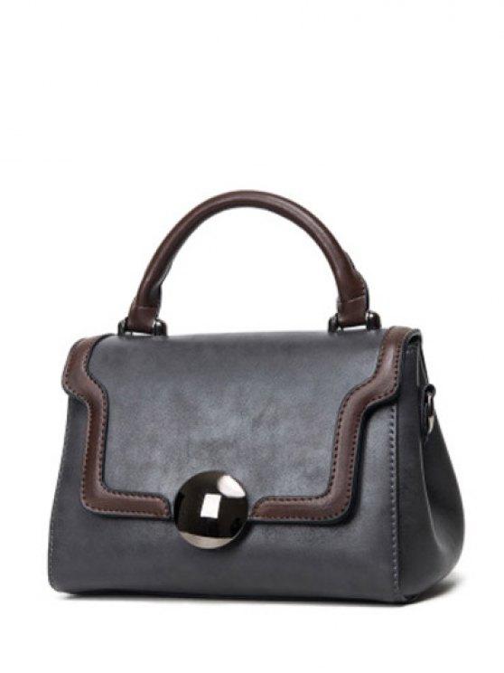 Color Panel PU Leather Handbag -   Mobile