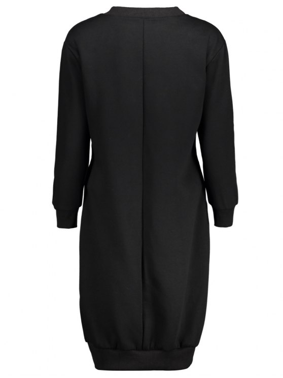 Casual Long Sleeve Letter Midi Dress - BLACK XL Mobile