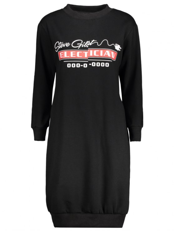 Casual Long Sleeve Letter Midi Dress - BLACK 4XL Mobile