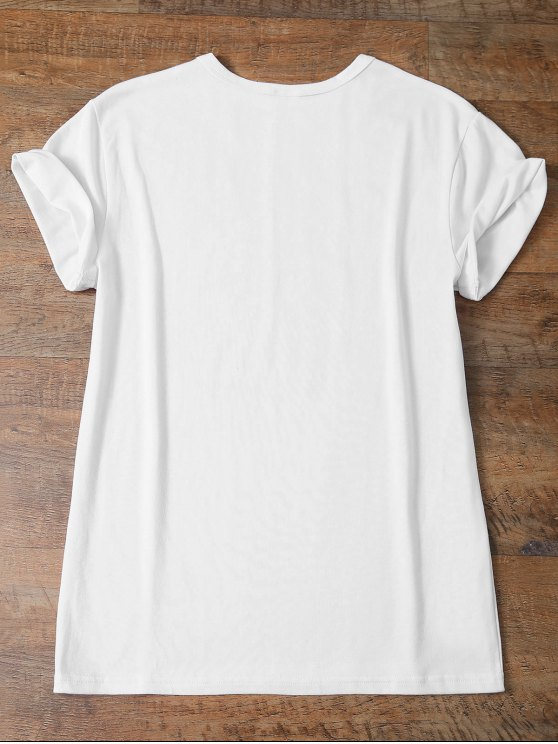 Short Sleeve Funny Letter Tee - WHITE L Mobile