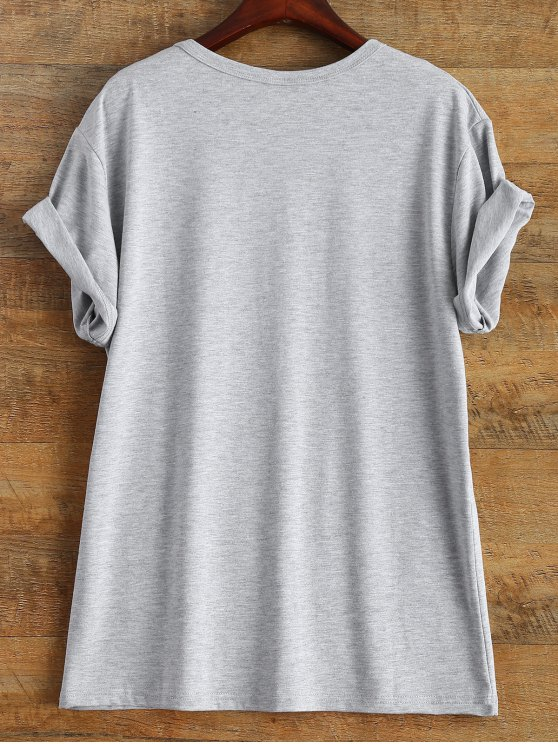 Short Sleeve Letter Print Unisex T-Shirt - GRAY XL Mobile