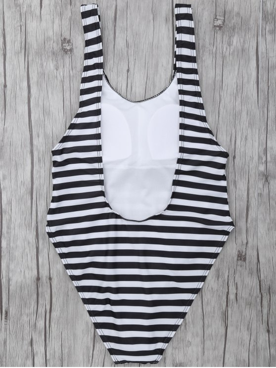 Stripe Drop Armhole Swimsuit - WHITE AND BLACK S Mobile