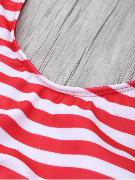 Stripe Drop Armhole Swimsuit - RED WITH WHITE M Mobile