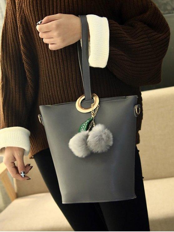 Pompon Metal Ring Crossbody Bag - GRAY  Mobile