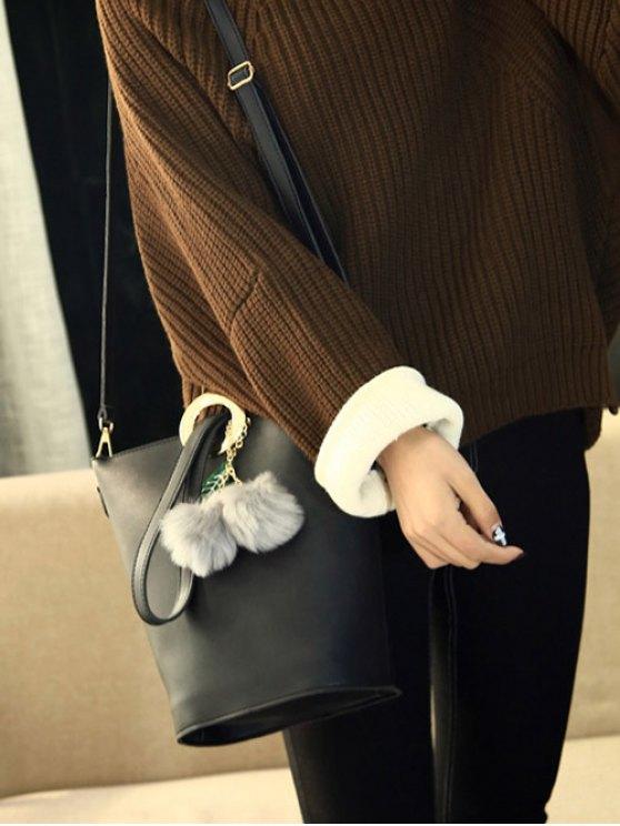 Pompon Metal Ring Crossbody Bag - BLACK  Mobile