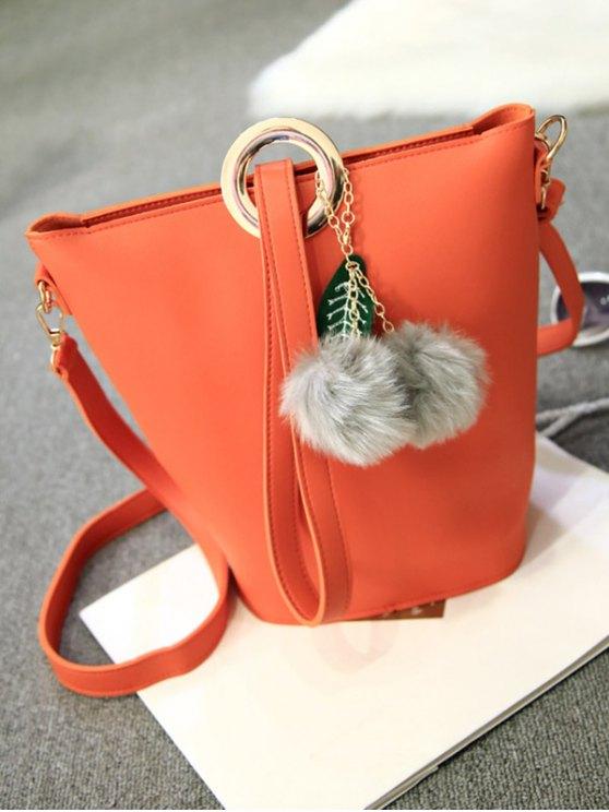 Pompon Metal Ring Crossbody Bag - ORANGE  Mobile