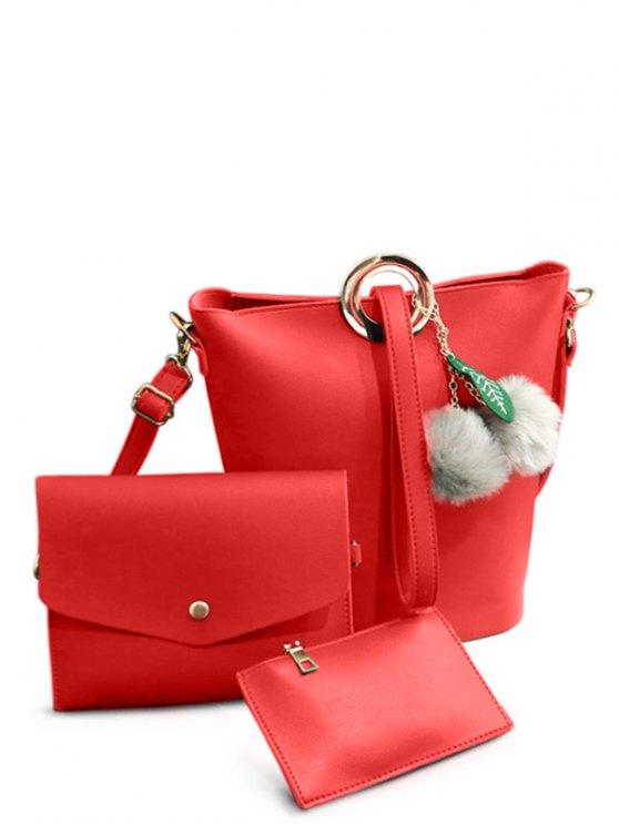 Pompon Metal Ring Crossbody Bag - RED  Mobile