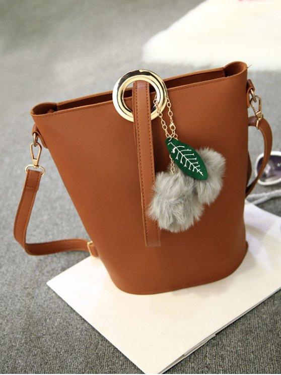 Pompon Metal Ring Crossbody Bag - BROWN  Mobile