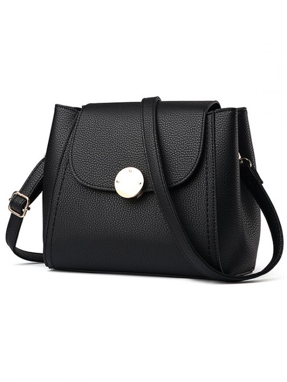 Flap Metal Embellished Shoulder Bag - BLACK  Mobile
