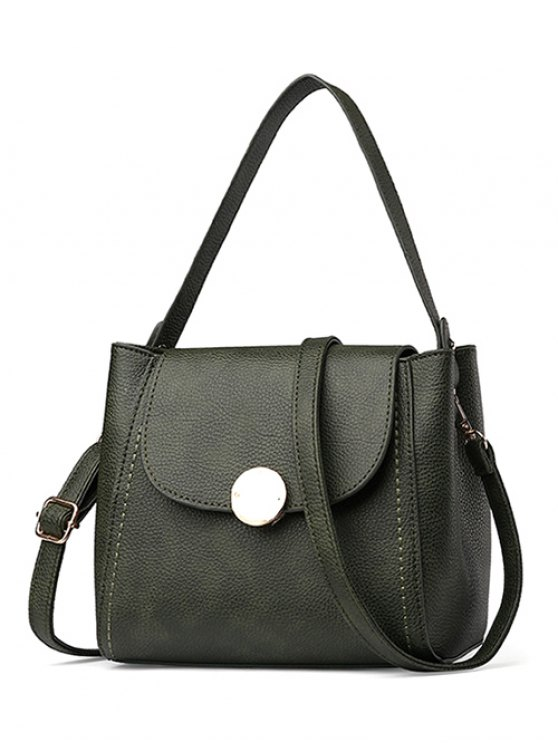Flap Metal Embellished Shoulder Bag - BLACKISH GREEN  Mobile