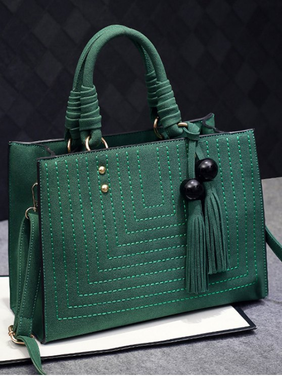 Stitching Suede Tassel Handbag - GREEN  Mobile