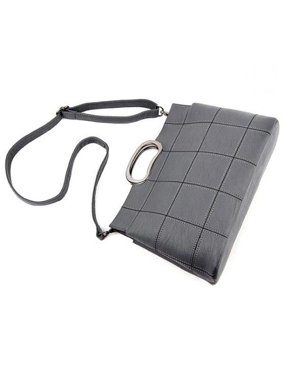 Grid Stitching PU Leather Handbag - GRAY  Mobile