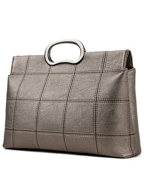 Grid Stitching PU Leather Handbag - SILVER GRAY  Mobile