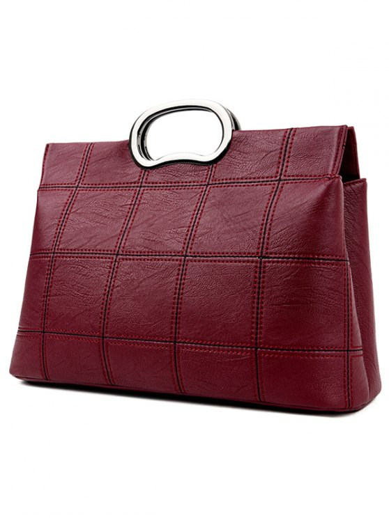 Grid Stitching PU Leather Handbag - WINE RED  Mobile