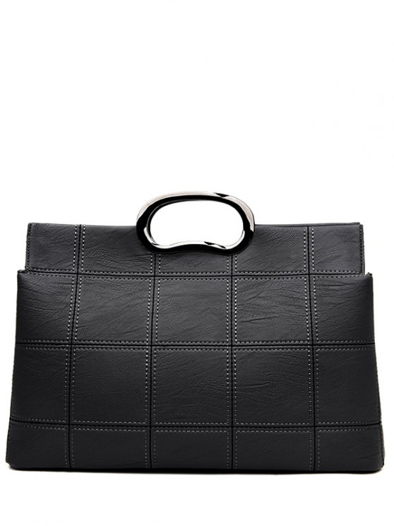 Grid Stitching PU Leather Handbag - BLACK  Mobile