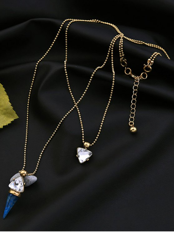 Faux Gem Triangle Layered Necklace - GOLDEN  Mobile