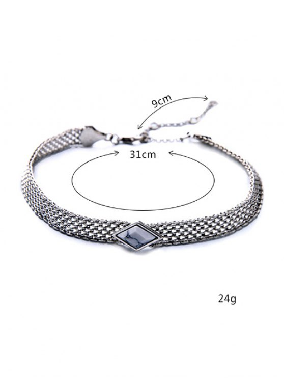 Faux Gemstone Geometric Vintage Necklace -   Mobile