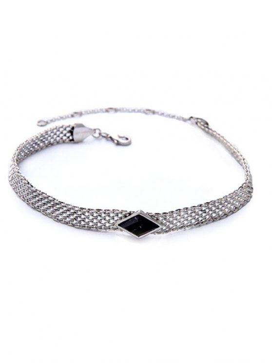 Faux Gemstone Geometric Vintage Necklace - BLACK  Mobile