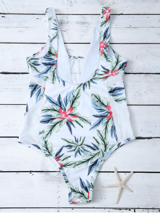 One-Piece Swimwear With Tropical Print - WHITE M Mobile