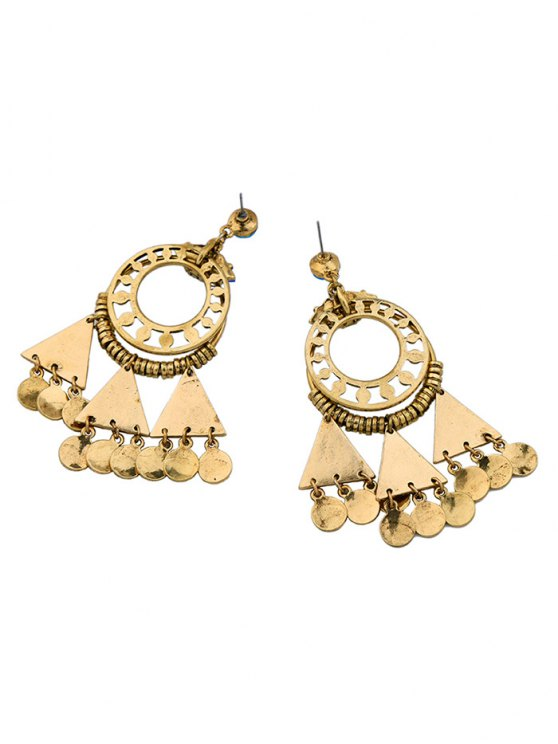 Rhinestone Coins Geometric Chandelier Earrings - BLUE  Mobile