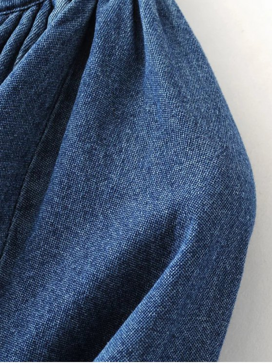 Embroidered Bib Swing Denim Blouse - DENIM BLUE L Mobile