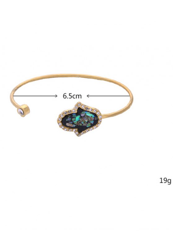 Faux Gemstone Rhinestone Palm Cuff Bracelet - GOLDEN  Mobile