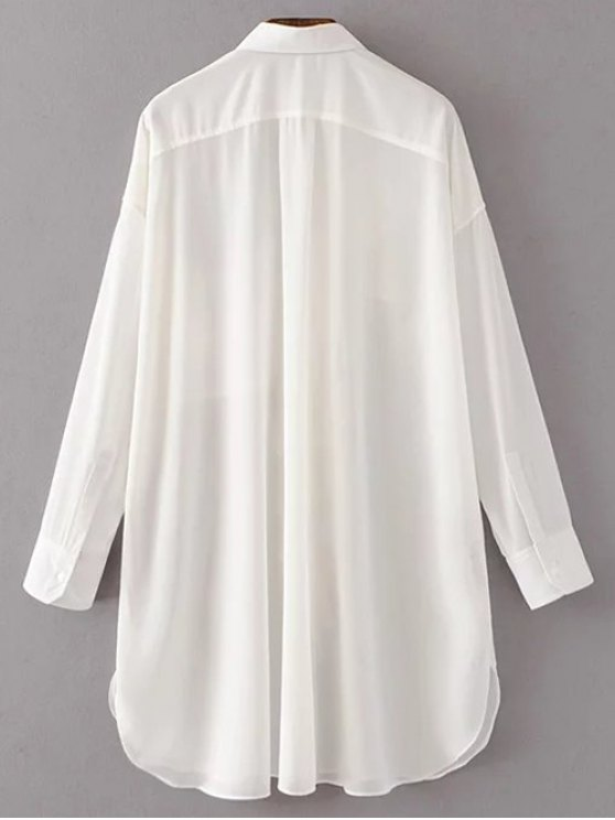 Oversized Chiffon Shirt With Frill - WHITE L Mobile