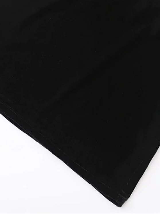 Cropped Wide Leg Velvet Jumpsuit - BLACK S Mobile