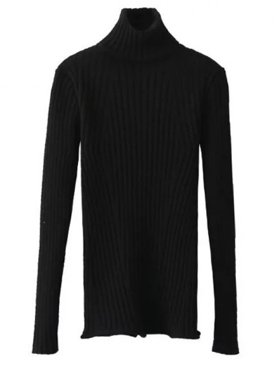 Ribbed Roll Neck Jumper - BLACK ONE SIZE Mobile