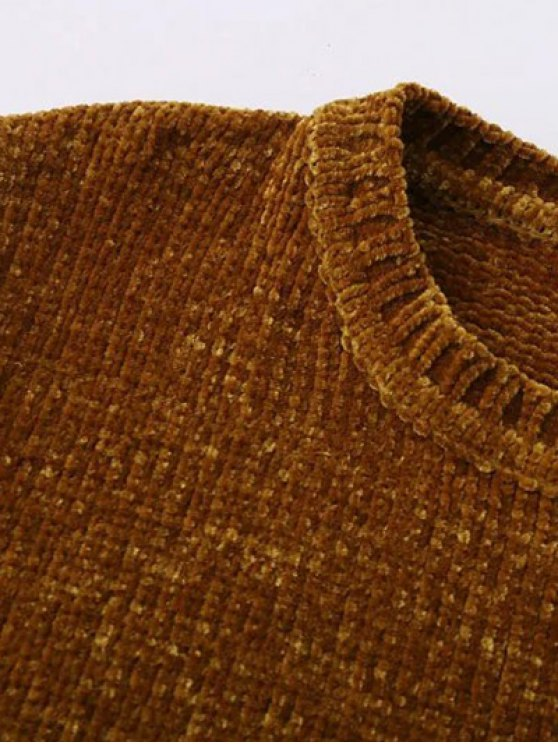 Chenille Oversized Jumper - GOLD BROWN M Mobile