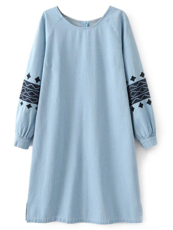 Denim Embroidered Tunic Dress - LIGHT BLUE S Mobile