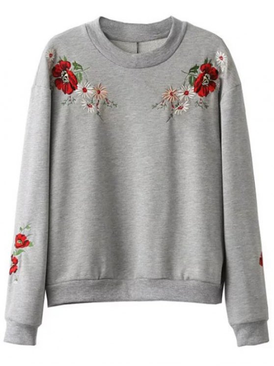 Floral Embroidered Oversized Sweatshirt - GRAY L Mobile