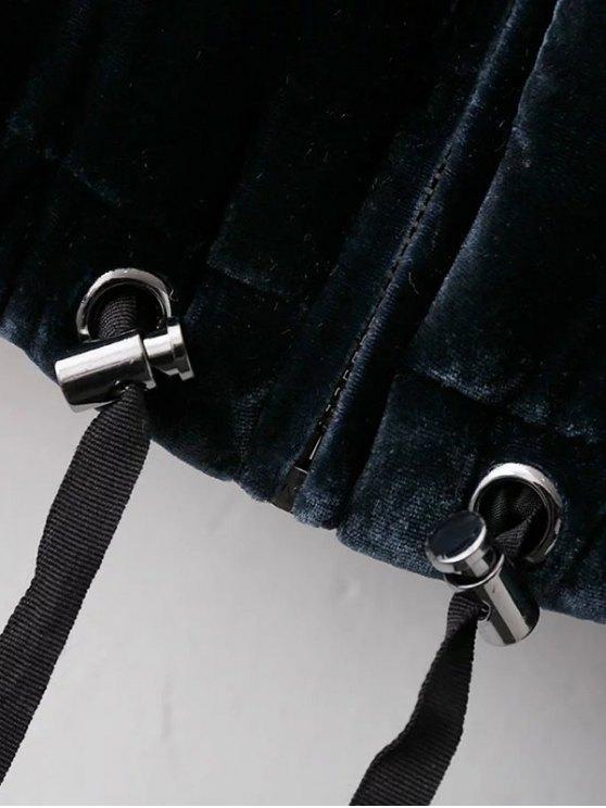 Layered Collar Velvet Winter Jacket - BLACK S Mobile