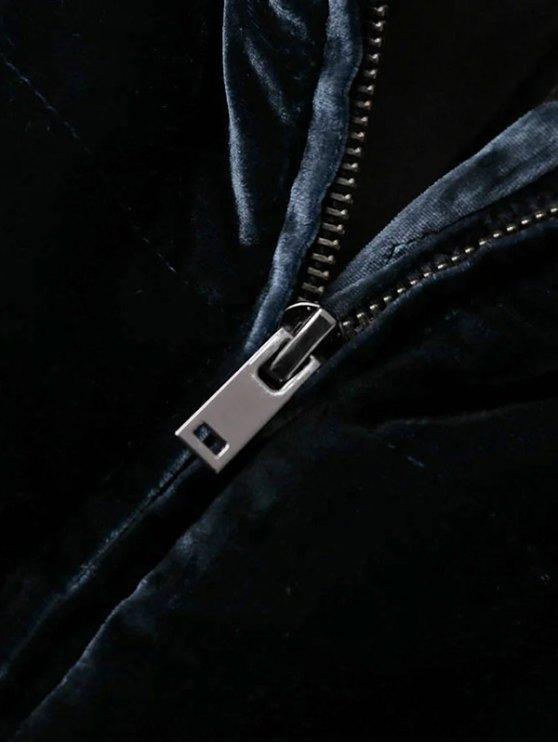 Layered Collar Velvet Winter Jacket - BLACK L Mobile