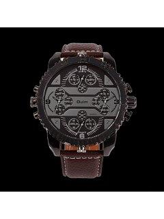 Big Dial Plate PU Leather Watch - Coffee