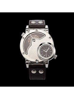 PU Leather Wrist Quartz Watch - Coffee