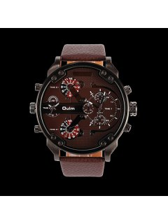 Big Dial Plate Wrist Quartz Watch - Coffee