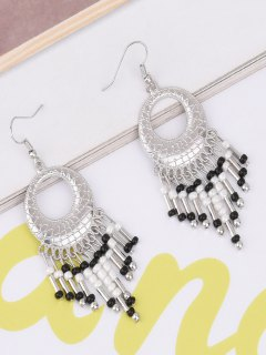 Hollow Out Beads Hook Earrings - Black