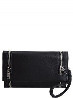 Zips Embellished Clutch Bag - Black
