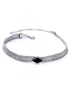 Faux Gemstone Geometric Vintage Necklace - Black