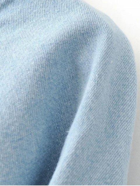 shop Denim Embroidered Tunic Dress - LIGHT BLUE M Mobile