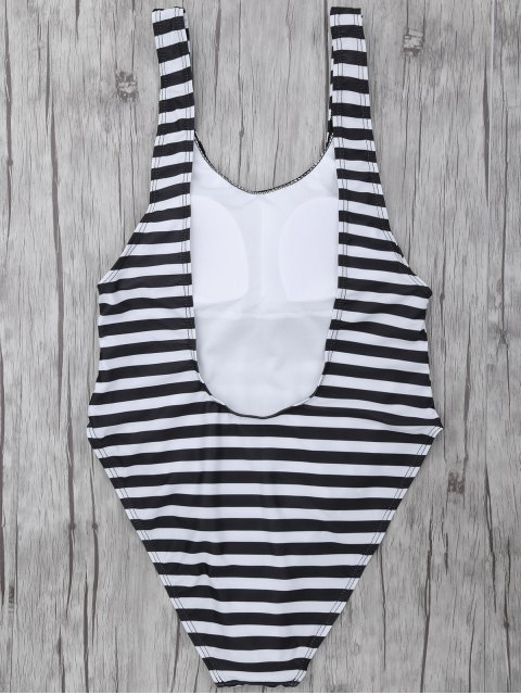 trendy Stripe Drop Armhole Swimsuit - WHITE AND BLACK S Mobile