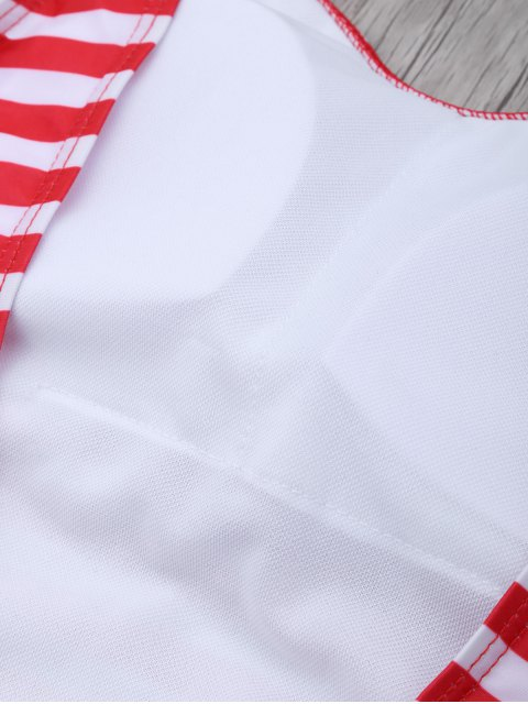 fashion Stripe Drop Armhole Swimsuit - RED WITH WHITE L Mobile