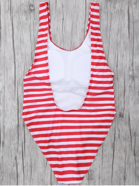chic Stripe Drop Armhole Swimsuit - RED WITH WHITE M Mobile