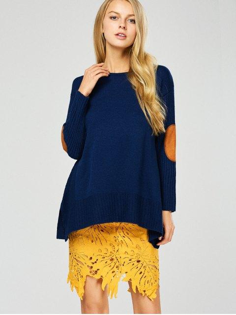 latest Elbow Patch Asymmetric Pullover Sweater - PURPLISH BLUE L Mobile